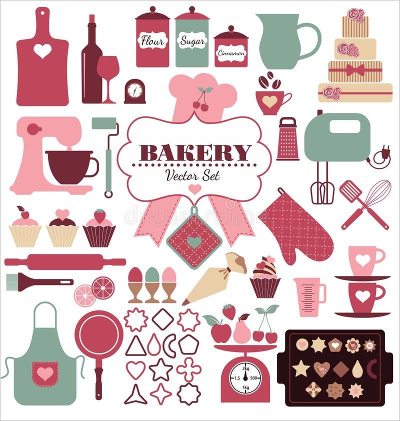 De reeks van het bakkerijpictogram stock illustratie