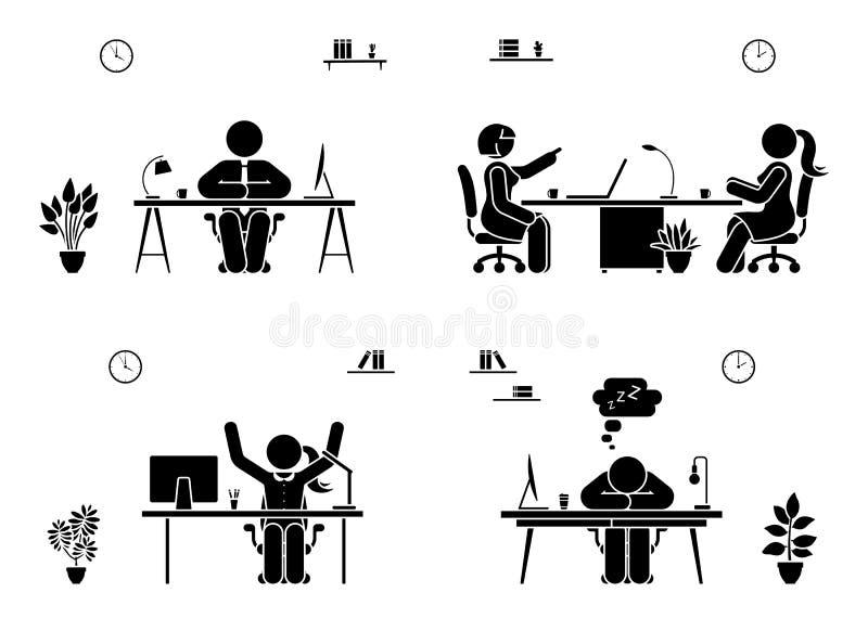 De reeks van het van het bedrijfs stokcijfer mensenpictogram Mannen en vrouwen die in bureaupictogram zitten vector illustratie