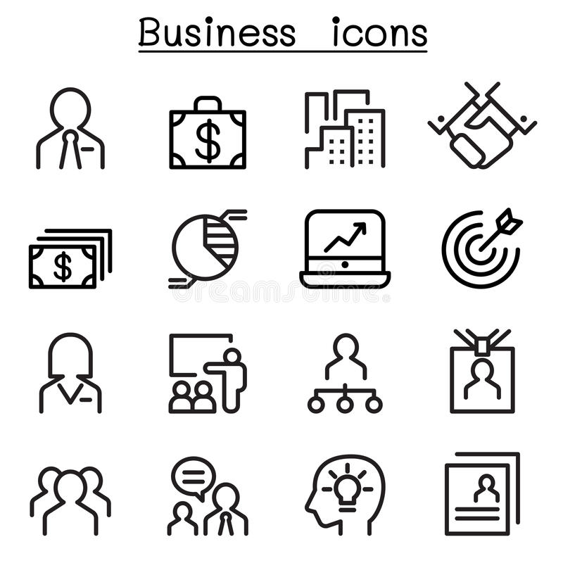 De reeks van het bedrijfskundepictogram royalty-vrije illustratie