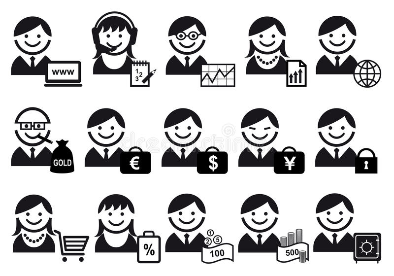 De reeks van het bedrijfsmensenpictogram vector illustratie