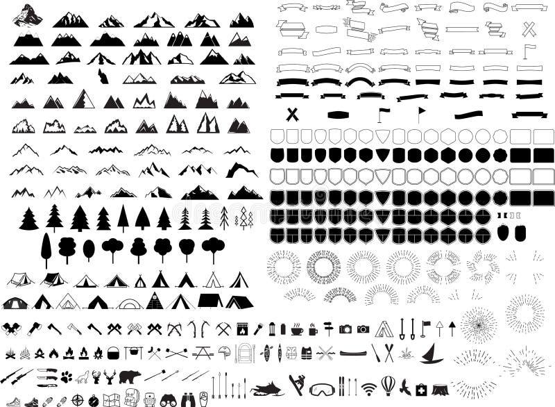 De reeks van het bergembleem royalty-vrije illustratie