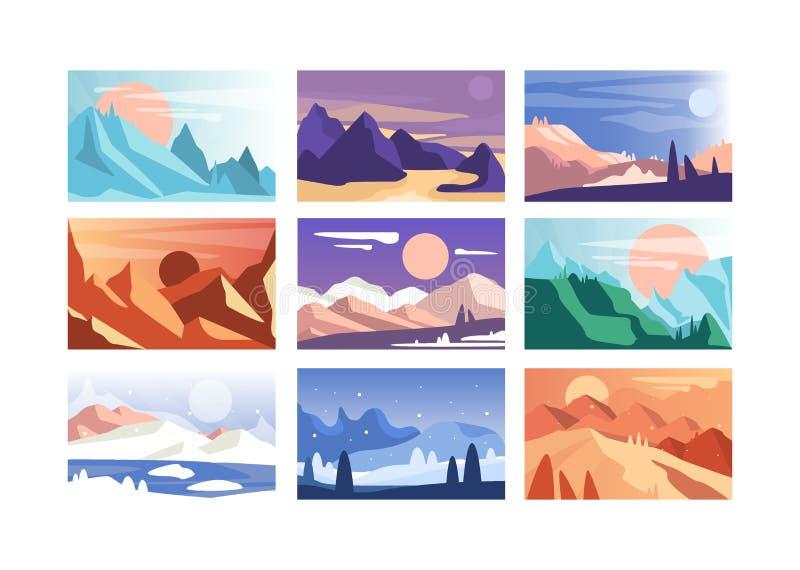 De reeks van het berglandschap, scènes van aard in verschillende tijd van jaar en dag vectorillustratie royalty-vrije illustratie