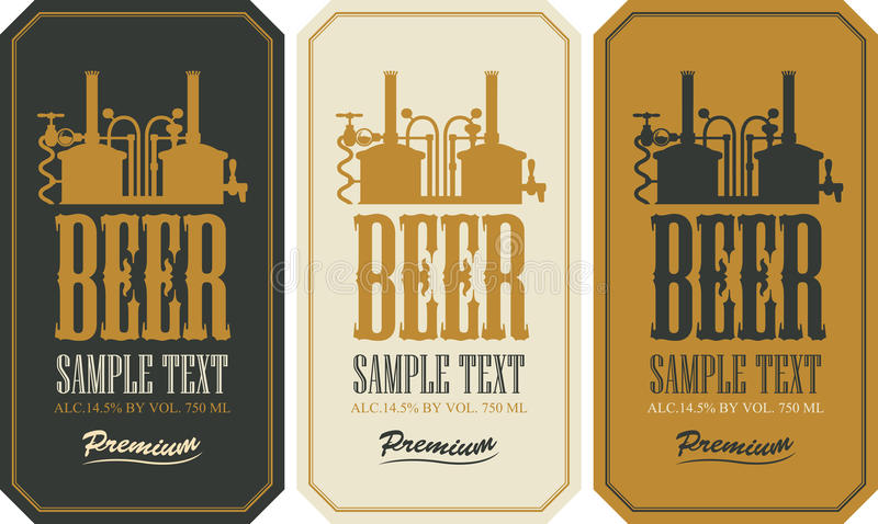 De Reeks van het bieretiket vector illustratie