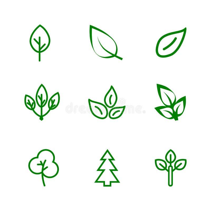 De reeks van het bladerenpictogram Diverse vormen van groene bladeren van bomen en installaties royalty-vrije illustratie