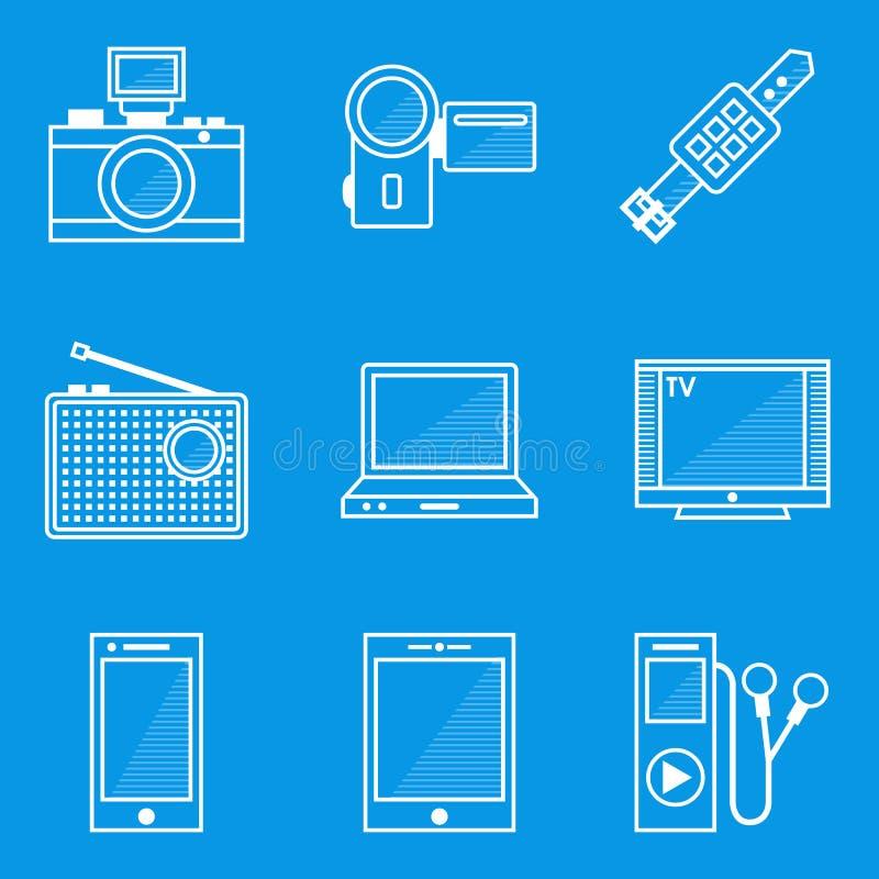 De reeks van het blauwdrukpictogram apparaat stock illustratie