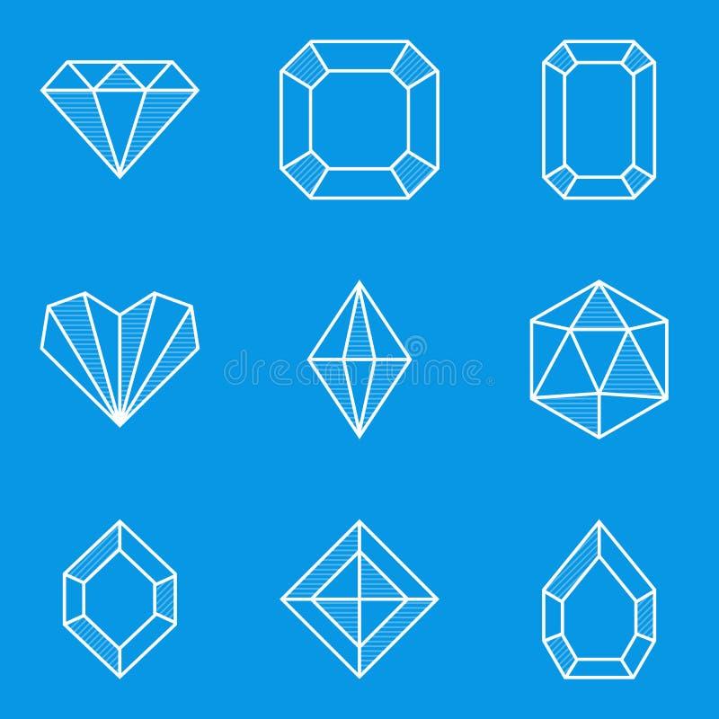 De reeks van het blauwdrukpictogram Diamant stock illustratie