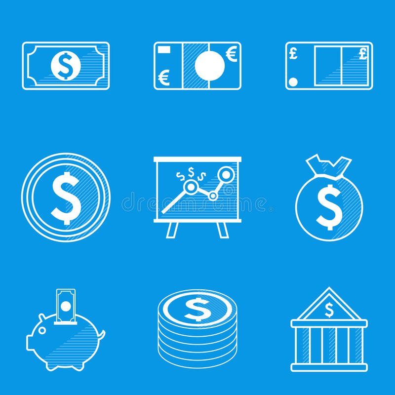 De reeks van het blauwdrukpictogram Geld vector illustratie