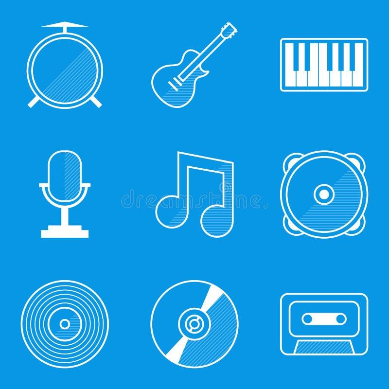 De reeks van het blauwdrukpictogram Muziek royalty-vrije illustratie