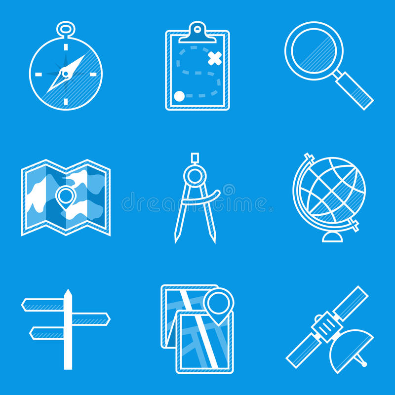 De reeks van het blauwdrukpictogram nearsighted stock illustratie