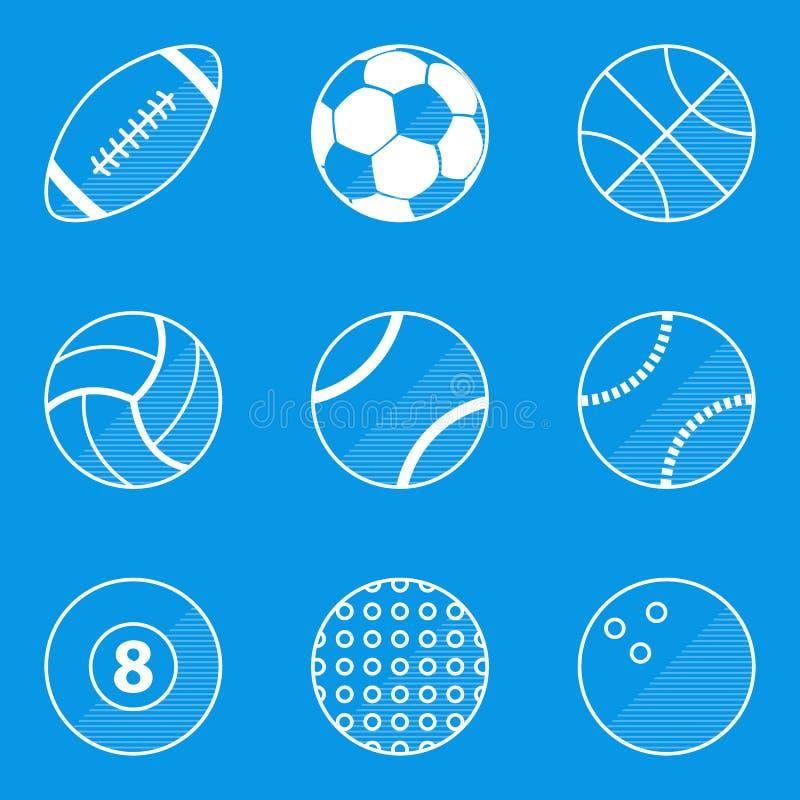 De reeks van het blauwdrukpictogram Sportbal vector illustratie