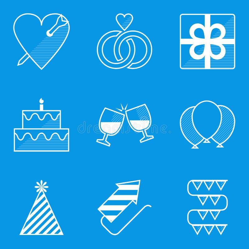 De reeks van het blauwdrukpictogram vakantie Liefde stock illustratie