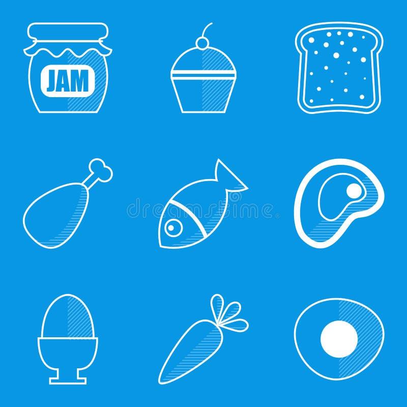 De reeks van het blauwdrukpictogram Voedsel royalty-vrije illustratie