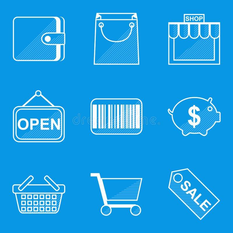 De reeks van het blauwdrukpictogram winkel royalty-vrije illustratie