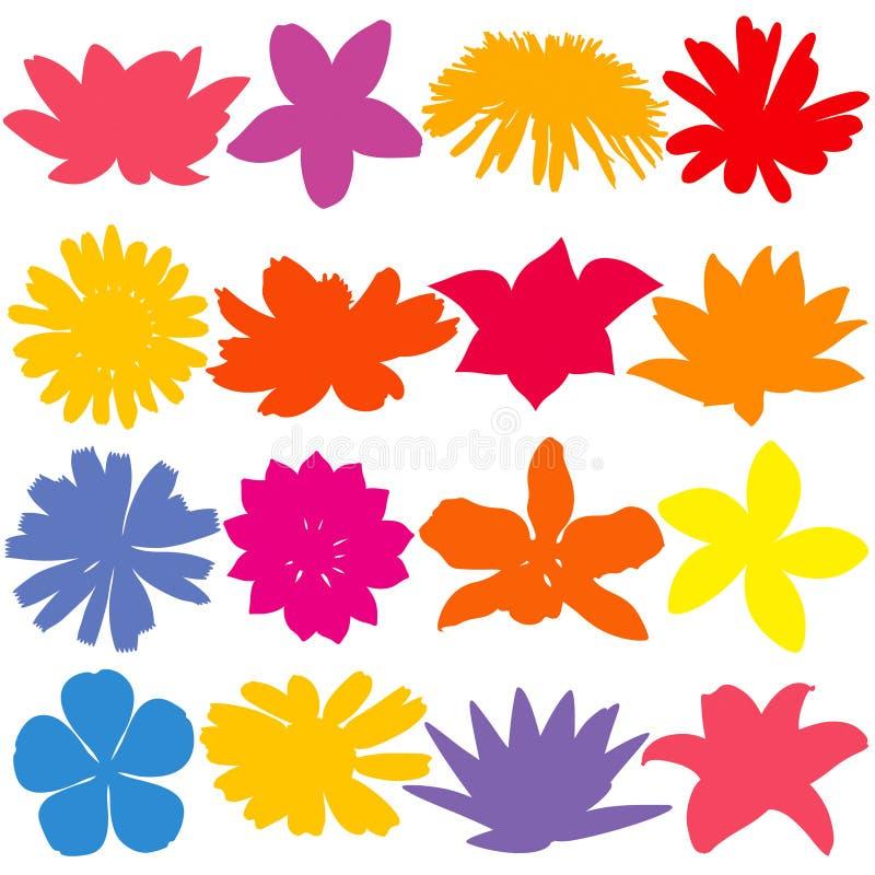 De Reeks van het bloemsilhouet Gekleurde bloemen vectorsilhouetten stock illustratie