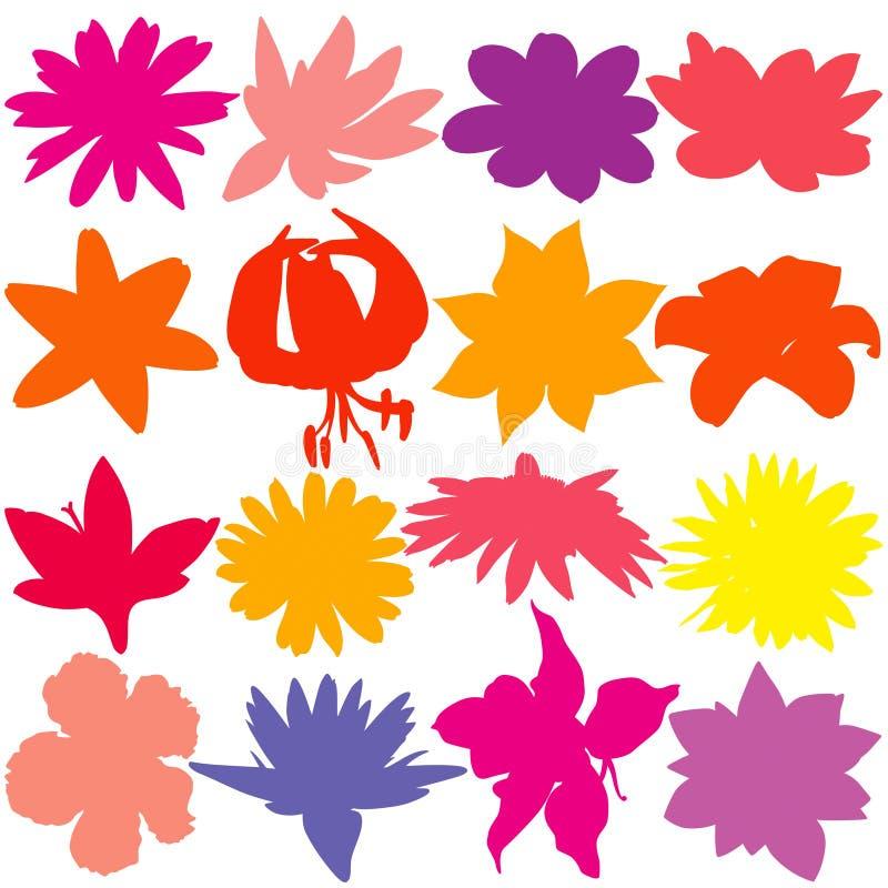 De Reeks van het bloemsilhouet Gekleurde bloemen vectorsilhouetten royalty-vrije illustratie