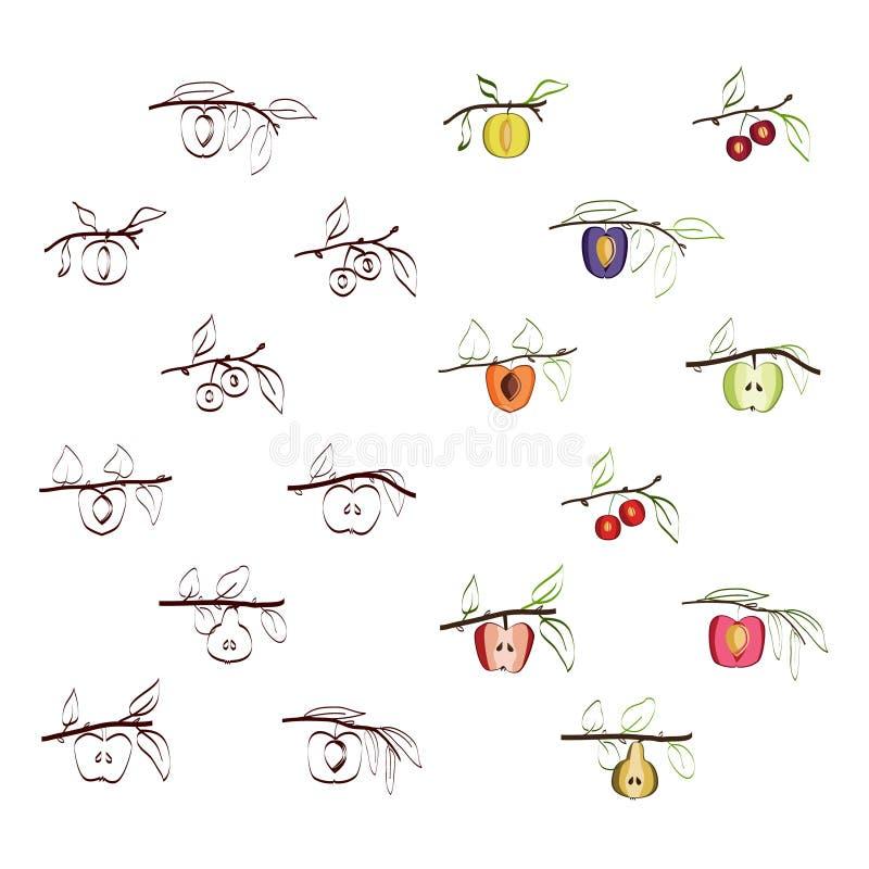 De reeks van het boomfruit stock illustratie