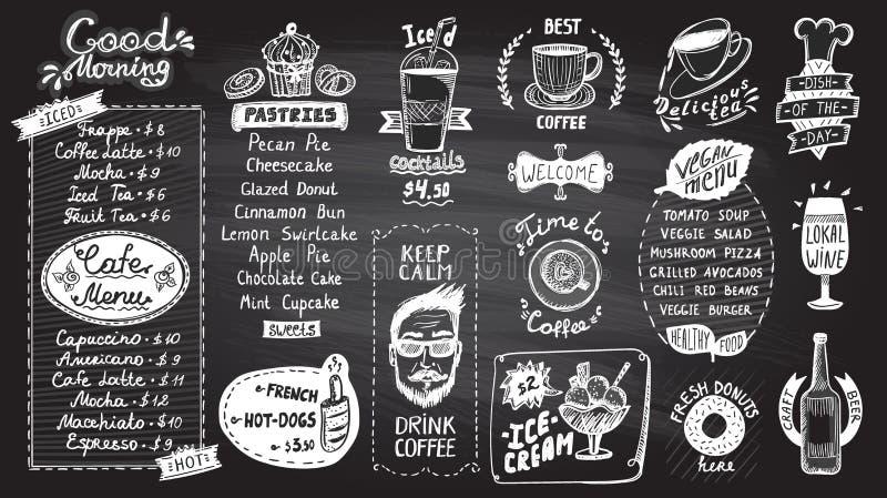 De reeks van het het bordontwerp van het koffiemenu, hand getrokken lijn grafische illustratie met gebakjes en dranken, van het v stock illustratie