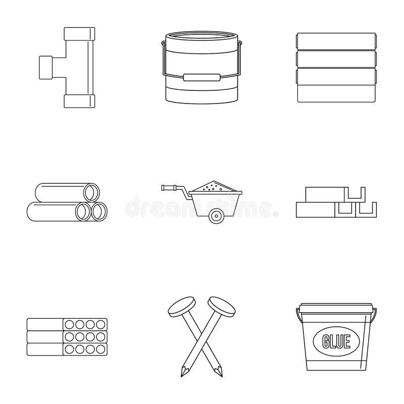 De reeks van het bouwmateriaalpictogram, overzichtsstijl royalty-vrije illustratie