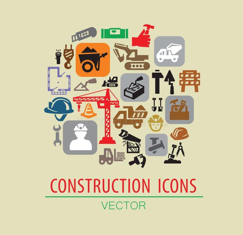 De reeks van het bouwpictogram stock illustratie