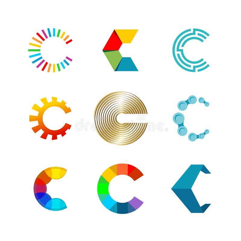 De reeks van het brievenc embleem De malplaatjesontwerp van het kleurenpictogram stock illustratie