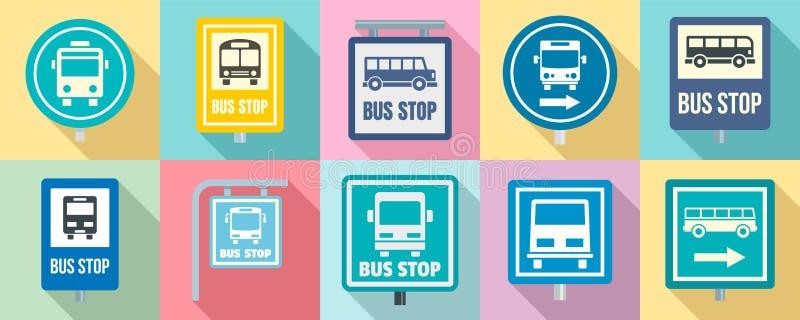 De reeks van het bushaltepictogram, vlakke stijl stock illustratie