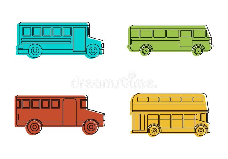 De reeks van het buspictogram, de stijl van het kleurenoverzicht stock illustratie