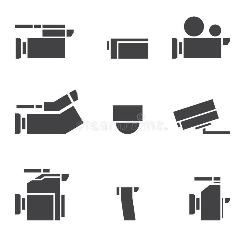 De reeks van het camerapictogram stock illustratie