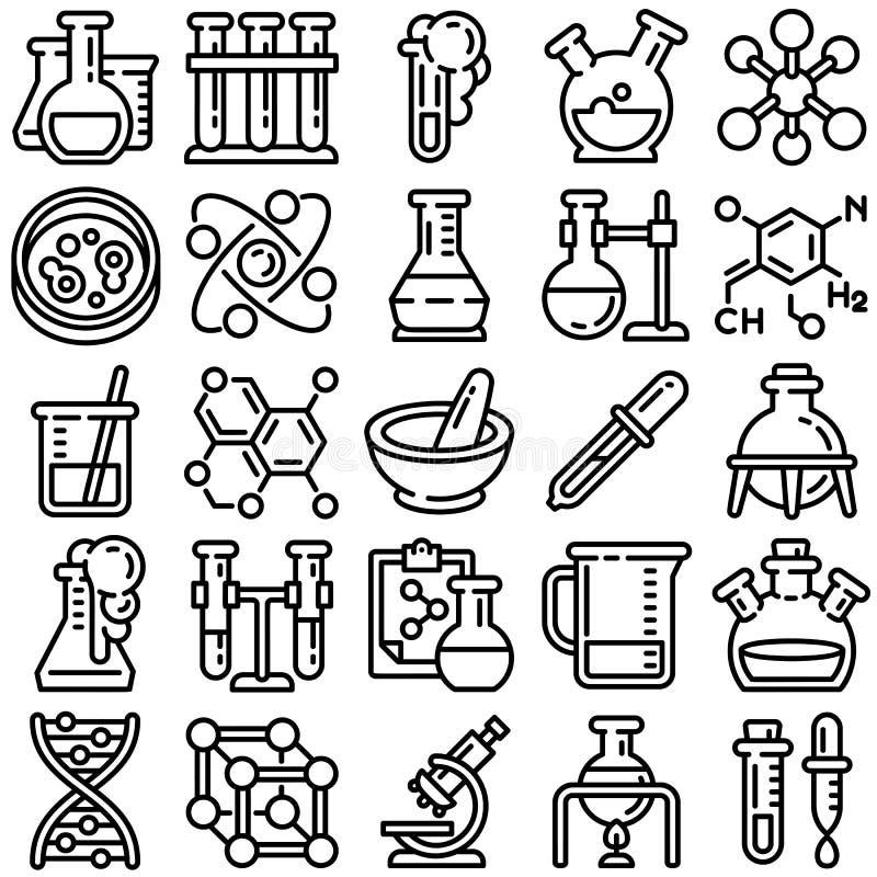 De reeks van het chemiepictogram, overzichtsstijl stock illustratie