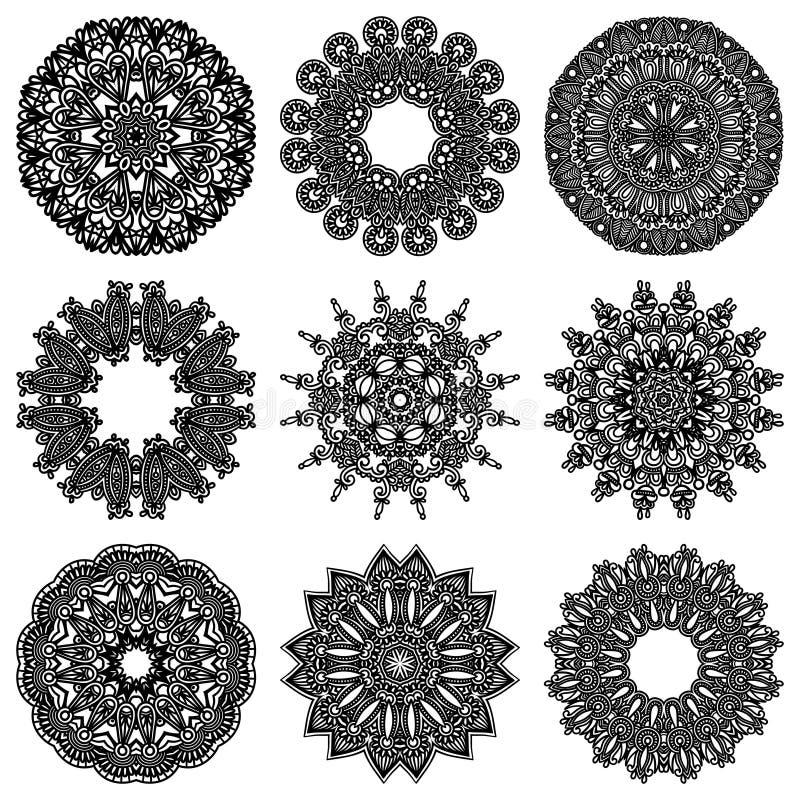 De reeks van het cirkelornament, sier rond kant royalty-vrije illustratie
