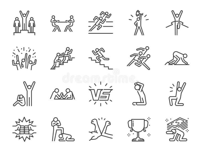De reeks van het de concurrentiepictogram Inbegrepen pictogrammen zoals tegenover, concurrenten, concurrerend, rivaliserend spel, royalty-vrije illustratie