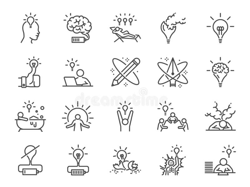 De reeks van het creativiteitpictogram Inbegrepen pictogrammen als Inspiratie, idee, hersenen, innovatie, verbeelding en meer royalty-vrije illustratie