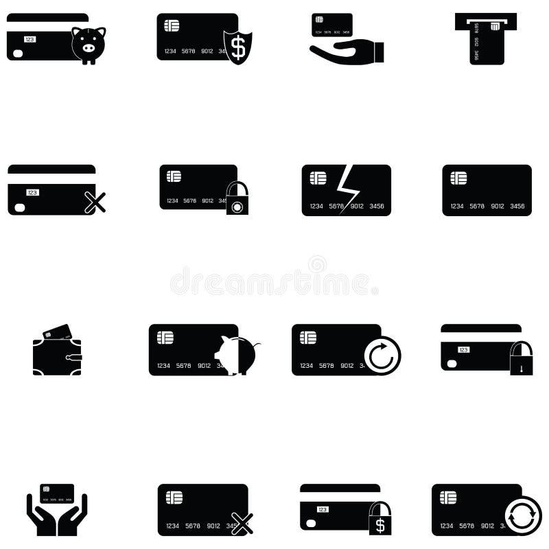 De reeks van het creditcardspictogram stock illustratie