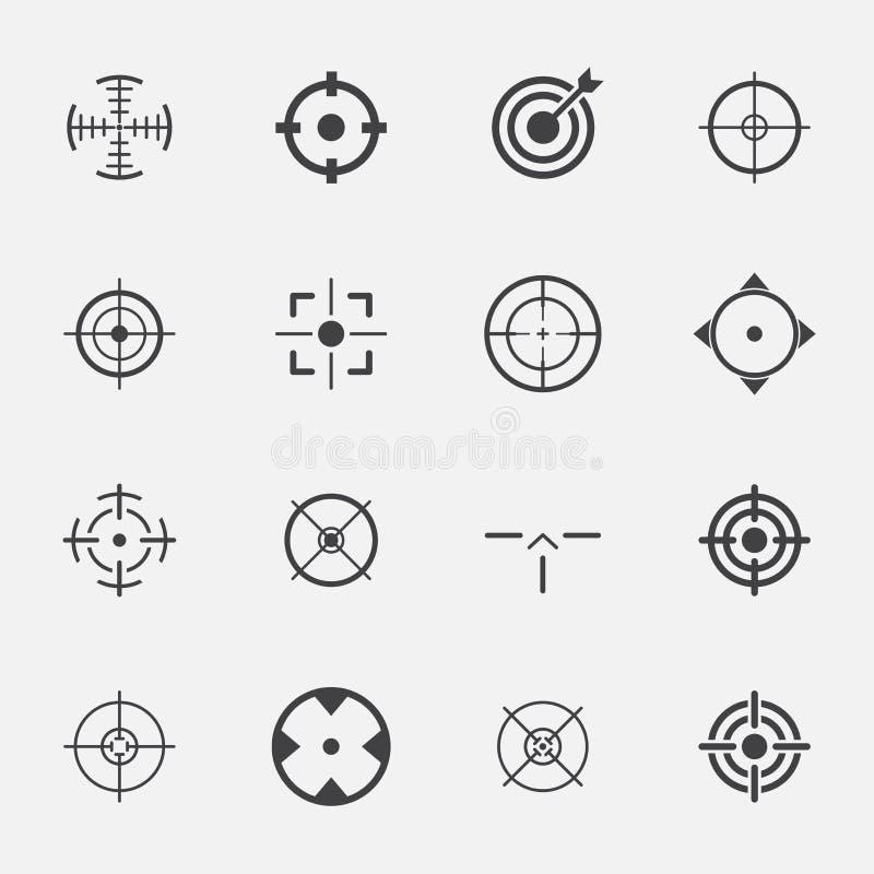 De reeks van het Crosshairspictogram stock illustratie