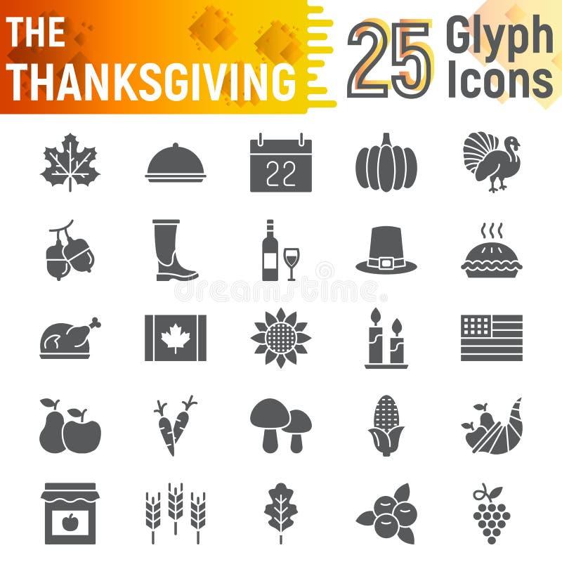 De reeks van het dankzeggings glyph pictogram, de inzameling van vakantiesymbolen, vectorschetsen, embleemillustraties, de herfst vector illustratie