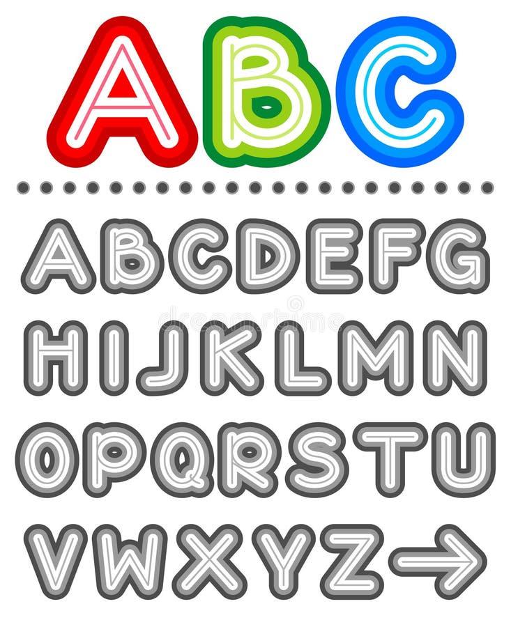 De reeks van het de brievenalfabet van de lijn stock illustratie