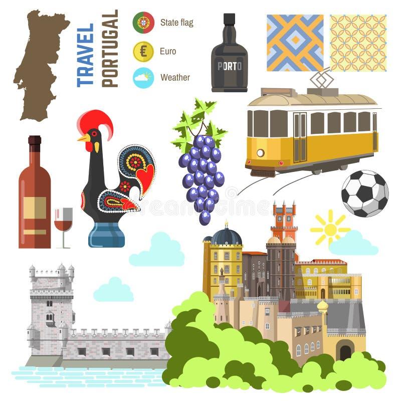 De reeks van het de cultuursymbool van Portugal De richting van de Reislissabon van Europa stock illustratie
