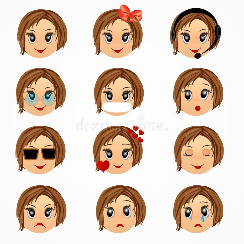 De reeks van het de emotiesgezicht van het kindmeisje De gezichten van Emoticonsmiley Vector beeldverhaalillustratie stock illustratie