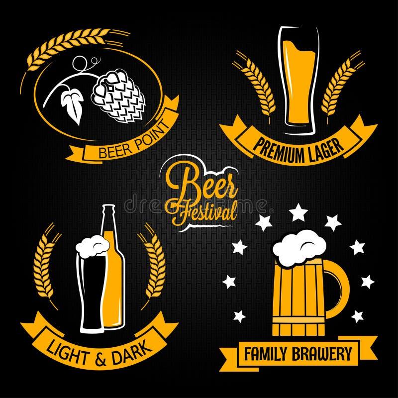 De reeks van het de flessenetiket van het bierglas royalty-vrije illustratie