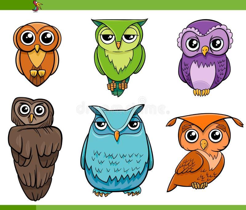 De reeks van het de karaktersbeeldverhaal van de uilvogel stock illustratie