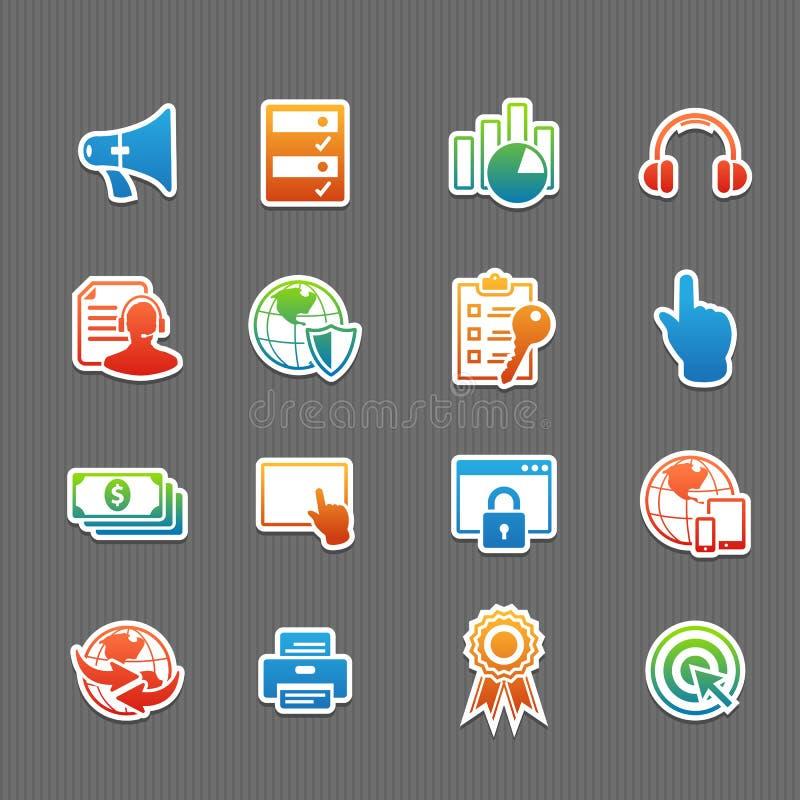 De reeks van het de kleurenpictogram van de Webtechnologie vector illustratie