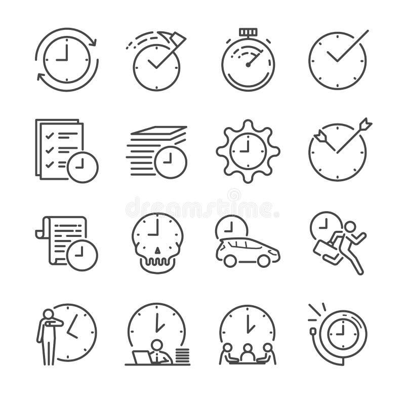De reeks van het de lijnpictogram van het tijdbeheer vector illustratie