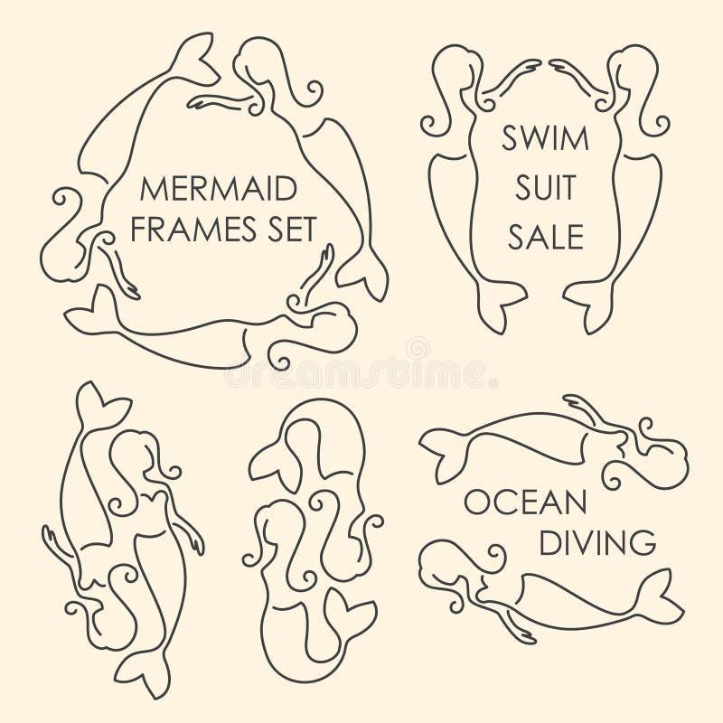 De reeks van het de meerminnenembleem van de lijnkunst royalty-vrije illustratie