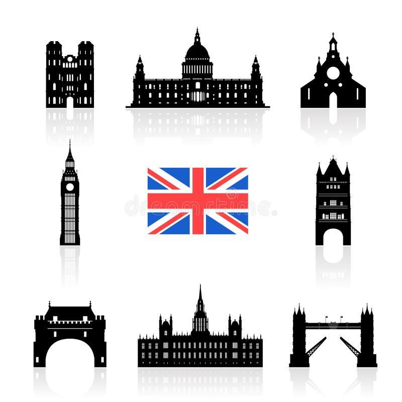 De Reeks van het de Oriëntatiepuntenpictogram van Engeland vector illustratie