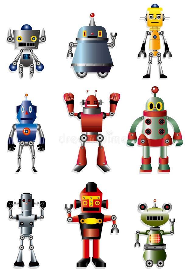 De reeks van het de robotpictogram van het beeldverhaal royalty-vrije illustratie