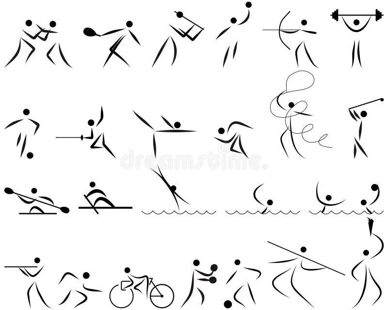 De reeks van het de sportpictogram van de zomer stock illustratie