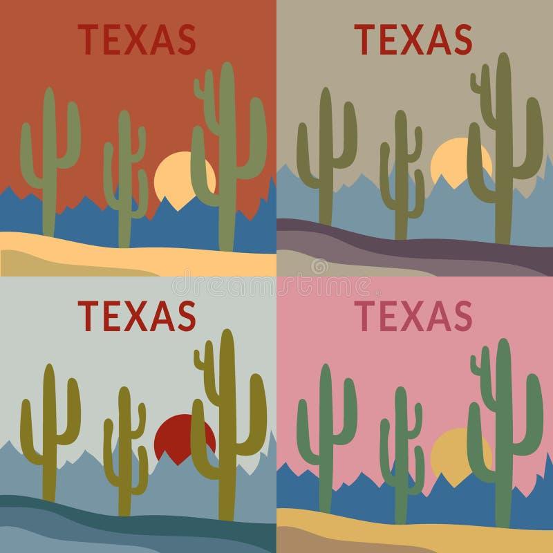 De reeks van het de t-shirtontwerp van Texas stock illustratie