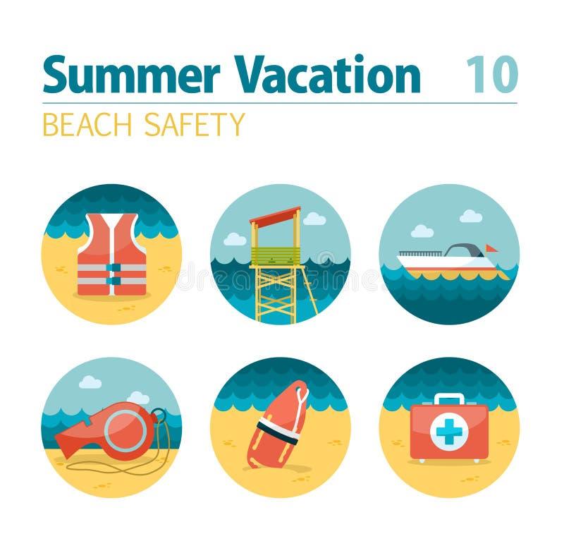 De reeks van het de veiligheidspictogram van het badmeesterstrand De zomer Vakantie royalty-vrije illustratie