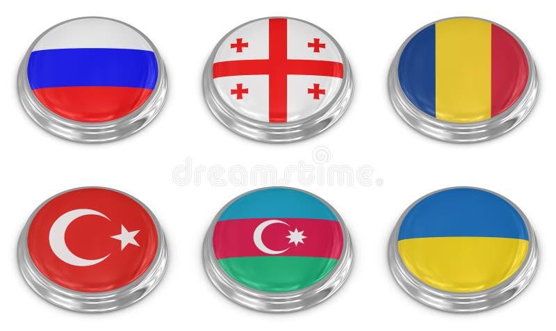 De Reeks Van Het De Vlagpictogram Van De Natie Royalty-vrije Stock Afbeelding