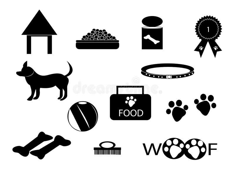 De reeks van het de zorgpictogram van de hond royalty-vrije illustratie
