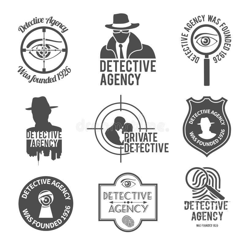 De reeks van het detectiveetiket vector illustratie